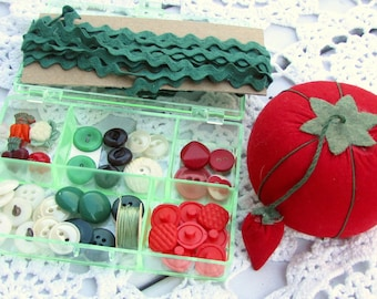 Vintage sewing inspiration box - filled with vintage buttons and sewing supplies shown - vegetable theme - in the shades of red and green