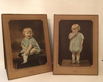 ON SALE Cedar Rapids Iowa IA Pair of Antique Vintage Old Tinted Stand-Up Photos Photographs of an Adorable Cute Little Girl 1920's - 1940's