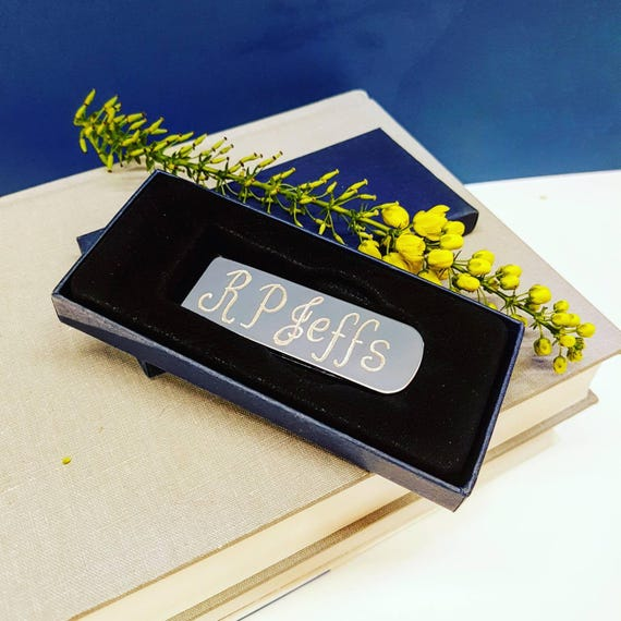 97b3572aea1d Personalised Money Clip Hand Engraved Gift Customised Silver