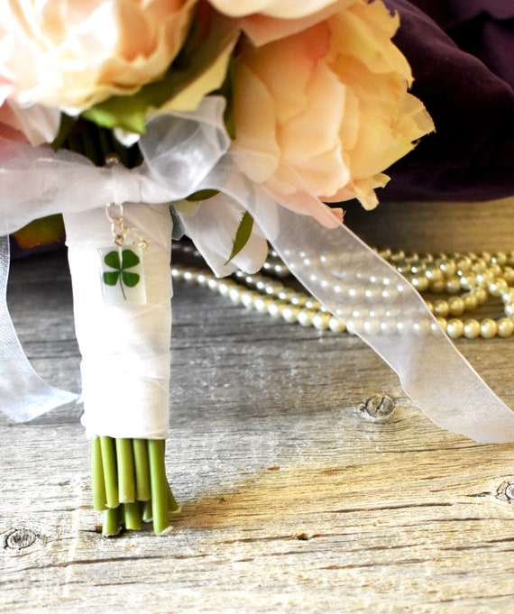 Four Leaf Clover Charm, Bouquet Charm, Bride Charm, One Only, Good Luck Charm