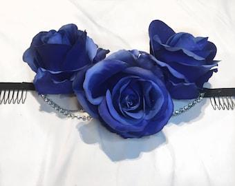 Blue Roses Floral Crown with Chains and Stones