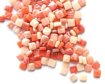 100 8mm Peach Orange Mix Mini SQUARES//Recycled Glass Mosaic Tiles//Mosaic Supplies//Craft Supplies//Mosaic Pieces