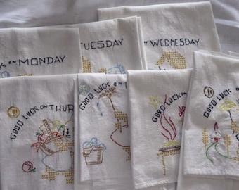Vintage Set of 7 Darling Good Luck Linen Embroidered Towels