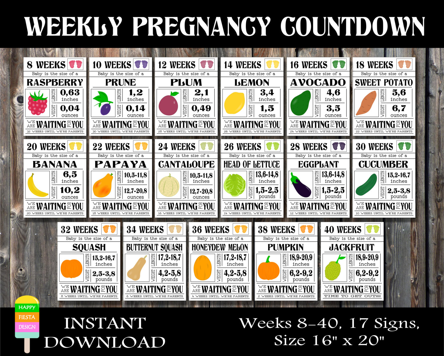Printable pregnancy countdown signs weekly pregnancy zoom nvjuhfo Image collections