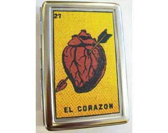 Loteria metal wallet retro cigarette case Mexicana Spanish ID case