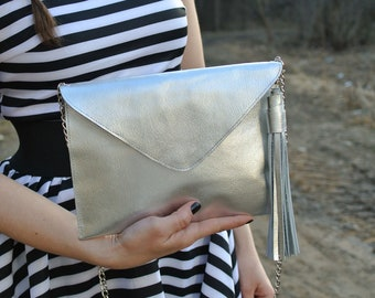 Silver Real Leather Envelope Clutch With Chain