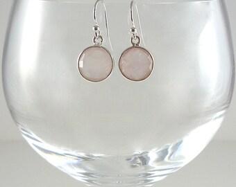 Rose Quartz Earrings Rose Quartz Gemstone Earrings Pale Pink Quartz Earrings Rose Quartz Sterling Earrings Rose Quartz Drop Earrings