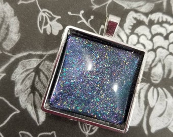 Holo Nail Polish Necklace, Square Glass Cabochon