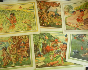 """1925 Imperial Tobacco """"Perils of Golf"""" Prints - Full Set of 6 - lithographs by Walter R. Duff - golf art - Scottish golfers - dinosaurs"""