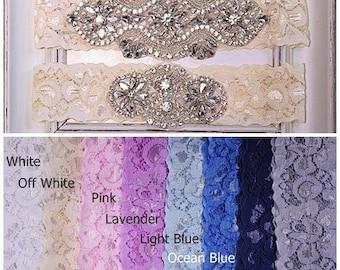 Wedding Garter set, Bridal Garter Set, Garter Wedding, Plus Size Garter, Lace Garter, something blue, Wedding Garter Set, Navy Garter WG27