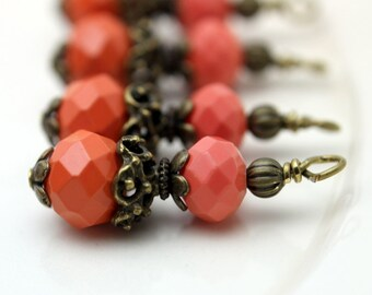 Vintge Style Coral Crystal with Ornate Brass Bead Dangle Charm Drop Set - Earring Dangle, Charm, Drop, Pendant