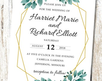Modern Geometric Succulents Wedding Invitation - Digital Download