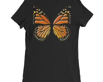 Bank Print Women's Slim Fit  Butterfly T-Shirt