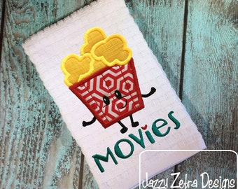 Popcorn with Movies word appliqué embroidery design - Movie appliqué design - Movies appliqué design - popcorn appliqué design