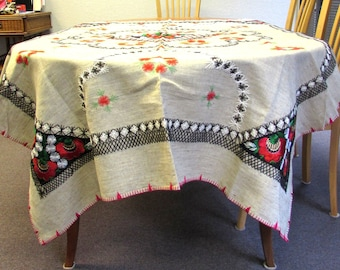 "Large Embroidered Ethnic Canvas Tablecloth Rectangle Red Brown 82"" X 56"""