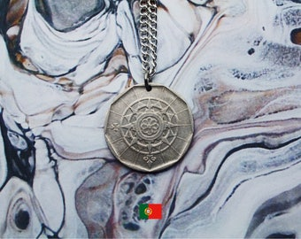 Portuguese 25 Escudos Handmade Silver Coin Necklace - Silver Plated Chain.