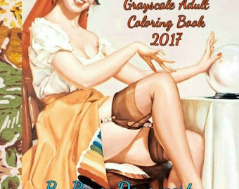 PDF of Fall Fantasy Retro Pin Up Girls Grayscale Adult Coloring Book 2017 Retro Twist 28 Bonus Cartoon Coloring Pages 56 Pages