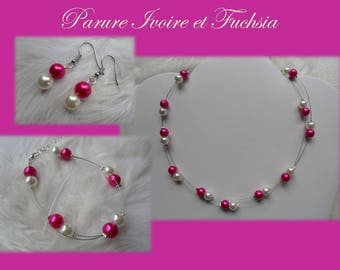 Ornament beads Fuchsia and ivory jewelry wedding party bridesmaid oo