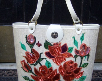 Charming Rose Theme Hangbag c 1960s