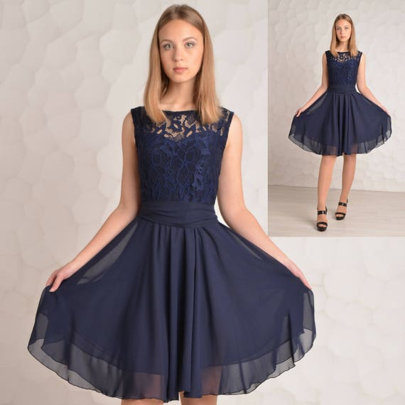 Brautjungfernkleid Navy blue Cocktail-Kleid Brautjungfer