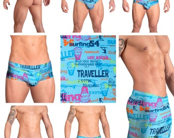 Blue Surfing Print Swimsuits for Men by Vuthy Sim.  Choose Thong, Bikini, Brief, Squarecut, Boxer, or Board Shorts - 119