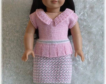 American Girl - Preppy in Pink - Top and Skirt (knitting pattern)