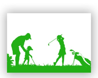 Father and daughters playing golf, Fine art print, silhouette, wall decor, Fathers Day, Gift For Father