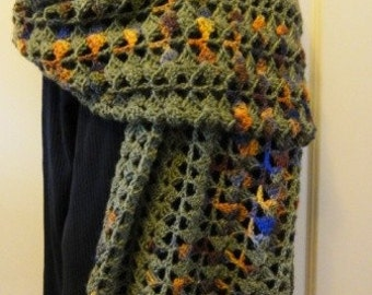 Olive green shawl with brown, blue and orange colorways--100% wool