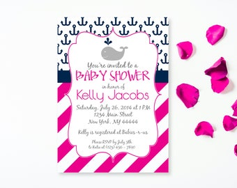 Pink Whale Baby Shower Invitation, Whale and Anchor, Girl Baby Shower, Whale Invitation, Printable Invitation, Whale Baby Shower Invite, PDF