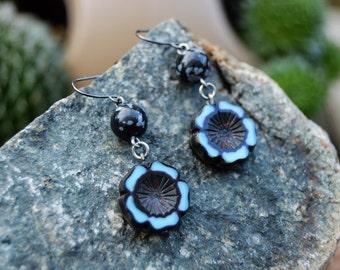 Flower Earrings, Czech Hawaiian Flowers with Snowflake Obsidian, Handmade Jewelry, Gift Ideas for Her from The Hidden Meadow