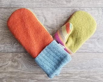 Best Wool Sweater Mittens // Womens Sweater Mittens // Fleece Lined mittens // Orange Lime and Blue