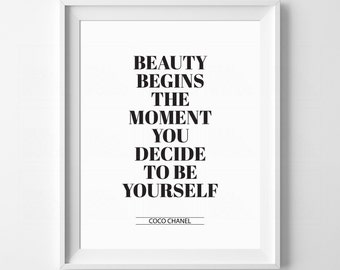 Fashionista Gift Printable Be Yourself Teen Girl Gift Girl Room Decor Typography Art Coco Chanel Quote Fashion Quote Beauty Quote