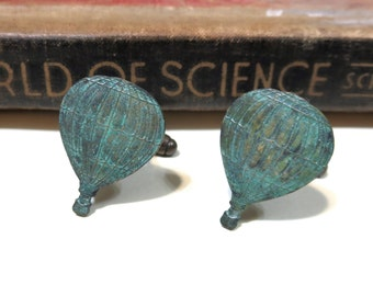 SALE Hot Air Balloon Cuff Links - Verdigris - Fly Away with Me - Steampunk - World's Fair - Victorian - Soldered CLEARANCE