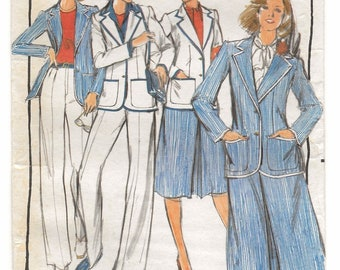 "A Classic Separates Pattern for Women: Fitted Jacket, Front Pleat Skirt, Straight Leg Pants - Unused - Size 18, Bust 40"" • Butterick 5329"