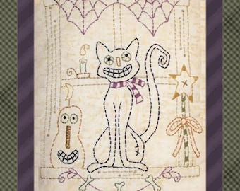 Halloween Window 1-Primitive Stitchery  E-PATTERN by Primitive Stitches-Instant Download