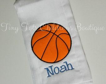 Basketball diaper etsy personalized basketball burp cloth embroidered sport burp cloth monogram burp cloth newborn negle Choice Image