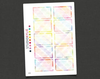 Watercolour Half Boxes - Planner Stickers - Repositionable Matte Vinyl - Suits All Planners