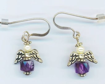 Small Angel Earrings . Sterling Silver French earwires . Amethyst Faceted Crystal . Communion - February Birthstone by enchantedbeas on Etsy