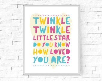 """Printable Twinkle Twinkle Little Star Do You Know How Loved You Are? Print - Child's Room - Childs Bedroom - Instant Download - 8""""x10"""" & A4."""