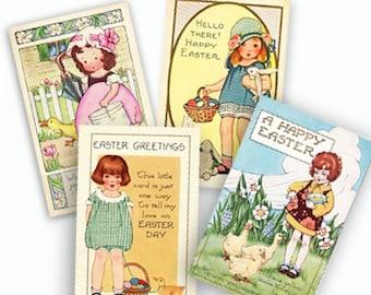 Vintage Easter Cards, Digital Collage, Instant Download, Easter Basket Tags, Scrapbooks, Graphic images, craft supplies, Easter bunny