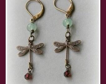 Dragonfly  Brass Dangling Earrings