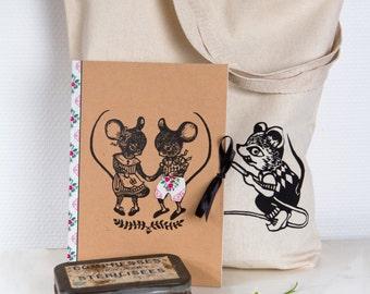 Set de cadeau coquin et marrant TOTE BAG & CAHIER/ Souris/ Souris et chat/ surprise caché/ customizé