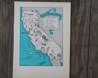 California Map Print / 1930s Vintage Map Art / California Decor / Quinn State Map Wall Art Print / Old Map Illustration / Travel Wall Decor