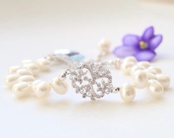 Infinity Love Bracelet by Bare and Me/ New Mama's Jewelry for Mother and Child/ Pearl Infinity Bracelet for Bride/ Wedding  Jewelry Idea her