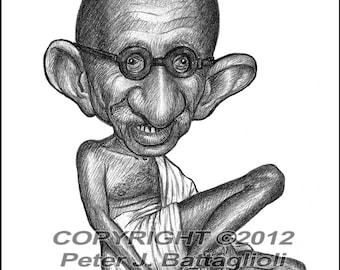 Mahatma Ghandi Caricature Art Poster Print Limited Edition