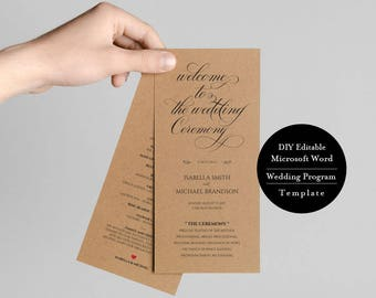 Wedding Program Printable, Instant Digital Download, Wedding Program, DIY Template, Editable in Microsoft Word, 4x9 inches, MSW118