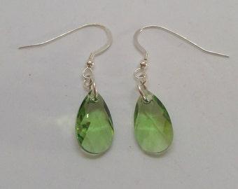 Sterling Silver Swarovski Crystal Peridot Pear/Teardrop Earrings (August Birthstone)