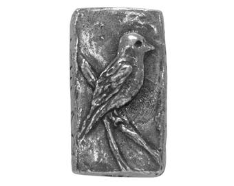 Green Girl Bird and Nest 7/8 inch ( 22 mm ) Pewter Bead Antique Silver Color