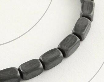 Set of 10 beads hematite, rectangular, 5 x 3 x 3 mm, hole 1 mm