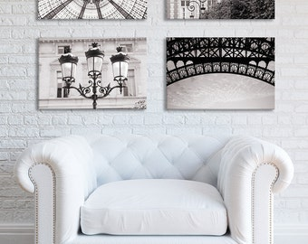 Paris Photograph Collection on Canvas - Architectural Details, Sepia, Black and White, Gallery Wrapped Canvas, Large Wall Art, Home Decor
